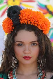 day of the dead headband marigold orange flower crown headband headdress costume day of