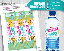 Decorate Water Bottle Emoji Water Bottle Labels Emojis Party Favors Printable Labels