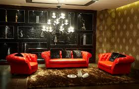 elegant black and red nuance of the red chairs design living room
