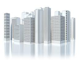 modern business city on white background sketch stock