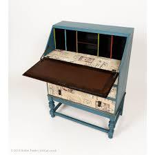 vintage retro shabby chic painted writing desk bureau with three