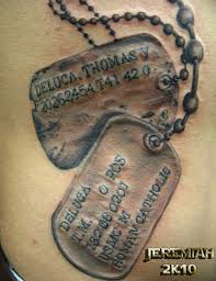 dog tags close up memorial tattoo design in 2017 real photo