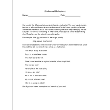 ideas of metaphor and simile worksheets for middle in