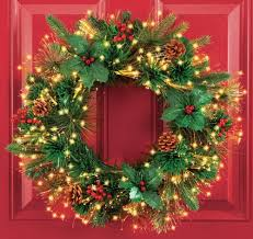 fiber optic faux pine and pine cones lighted wreath