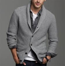 men u0027s grey shawl cardigan black denim shirt white crew neck t