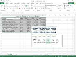 how to create a table in excel 2016 creating pivot tables with the quick analysis tool in excel 2016