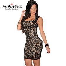 lace dress sebowel 2017 women black lace dress sleeveless party