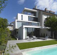 awesome three story open facade design with front pool idolza