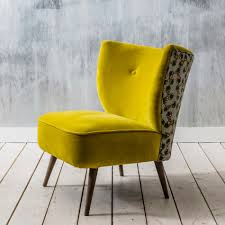 Yellow Upholstered Chairs Design Ideas Alpana Printed Yellow Velvet Cocktail Chair Sofa Seats