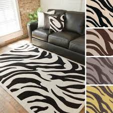 hand tufted black white zebra animal print new zealand wool rug 9