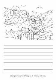 story paper and coloring page mount rushmore usa is in