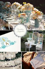 blue and creamsicle shabby chic wedding inspiration board
