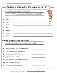 place value worksheets 4 digit numbers