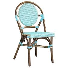 Blue Bistro Chairs Bistro Chair Brown Rattan Frame Blue Set Of 2 Dcg Stores
