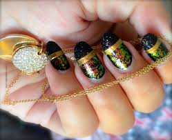 black glitter tips nail art design diy nails stickers with