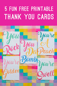 5 fun free printable thank you cards in a modern colourful design