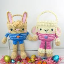plush easter baskets rabbit and easter baskets crochet pattern