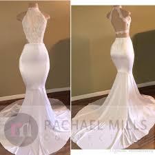 2017 new halter high neck white prom dresses criss cross