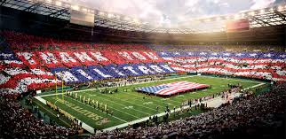 stadium wide card stunt to honor and veterans will take