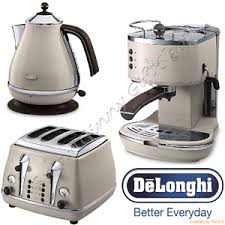 Toaster Machine Delonghi Icona Retro Vintage Cream Kettle 4slot Toaster Espresso