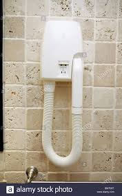 Wall Mounted Hair Dryers Close Up Of Wall Mounted Hairdryer With Shaver Socket In A French