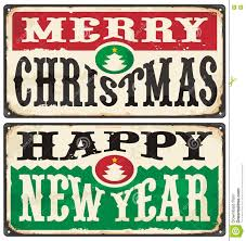 merry christmas signs merry christmas and happy new year vintage signs set stock vector