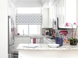 interior floral patterned bay window treatments kitchen with patterned bay window treatments kitchen with white wooden cabinet grey marble countertop stainless steel kitchen
