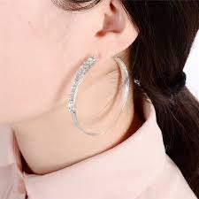 earrings for big earlobes 1 pair pinksee shiny rhinestone big circle hoop earrings