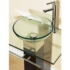 bathroom vanities tempered glass vessel sinks combo pedestal sink