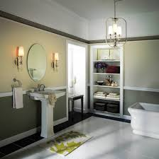bathroom orange rectangle plastic lights above mirror rustic wall
