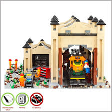 lego moc train engine shed tan custom model pdf instructions
