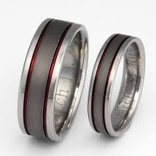 matching titanium wedding bands titanium wedding band set thin line rings his and hers