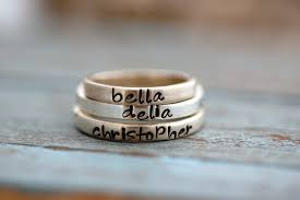 stacking name rings personalized sted stacking rings in sterling silver one