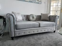 2 Seater Fabric Chesterfield Sofa by Brand New England Style Chesterfield Velvet Fabric 3 2 Seater