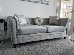 Chesterfield Sofa Velvet Fabric by Brand New England Style Chesterfield Velvet Fabric 3 2 Seater