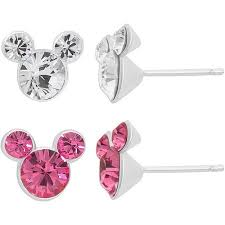 mickey mouse earrings disney mickey mouse sterling silver pink and clear stud
