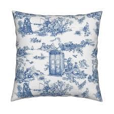 toile de jouy blue police boxes tea towels by debi birkin