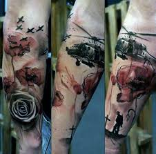 war military tattoo for men with red poppy flower ink