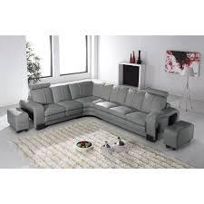 canapé d angle en cuir gris avec appuie tête relax havane angle