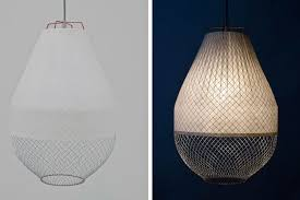 Paper Hanging Lamp Meshmatics Combines Chicken Wire And Bamboo Paper Into Brilliant