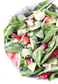 strawberry avocado spinach salad with poppyseed dressing little