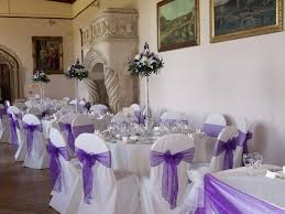 chair covers for wedding purple sashes on white banquet chair covers with tower vases