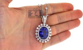 sapphire necklace with diamonds images Womens blue sapphire diamond pendant necklace 18k gold 29 26 ct jpg