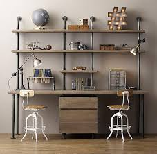 Steel Pipe Desk Pipe Double Desk Wood Shelving With Drawers