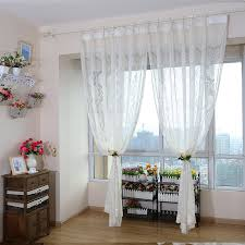 white sheer curtains with retro patterns of 2 panels