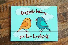 congratulations you two lovebirds wedding card tiny bee
