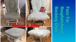Reupholster Armchair Diy Faux Fur Reupholstered Rocking Chair Diy Furniture Youtube