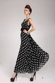 fashion o neck polka dots sleeveless black chiffon ankle length