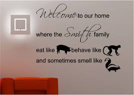 personalised family welcome wall art sticker lounge kitchen quote