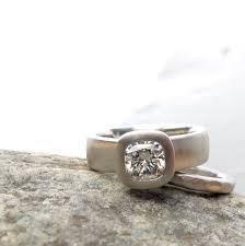 beveled engagement ring cushion cut diamond engagement ring wide band ring with bezel